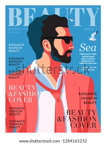 Young man wearing suit, tie and sunglasses. Sky background with gulls. Fashion magazine cover design for the summer holiday season. Vector illustration