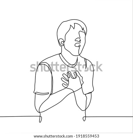 young man with an open mouth grabbed his chest with both hands - one line drawing. Concept of overflow with feelings, heart attack, bitter disappointment , heartache Foto stock ©