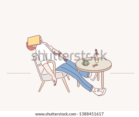 Young man with book sleeping in armchair at cafe. Hand drawn style vector design illustrations.