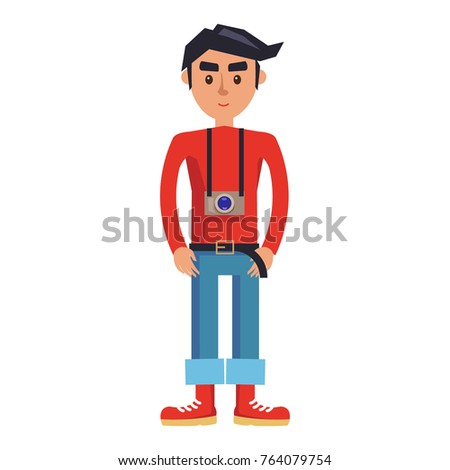 young man with camera cartoon