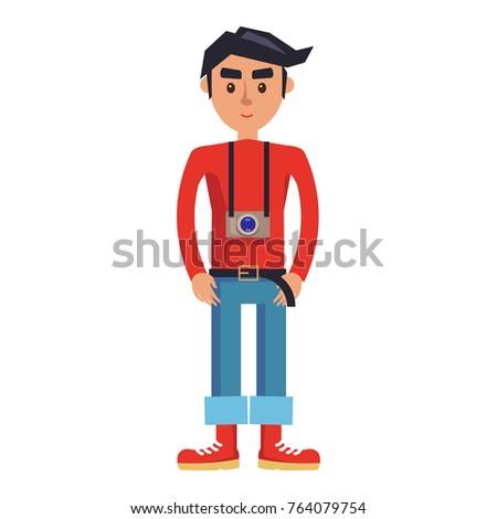 young man with camera cartoon