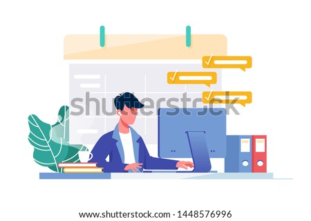 Young man with computer fills schedule calendar and complete business task for work. Concept male employee character doing plan on device at work. Vector illustration.
