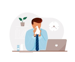 Young man with flu sitting at laptop in office until late and blowing his nose. Flat cartoon modern trendy style.Vector illustration character icon. Sick office worker concept.