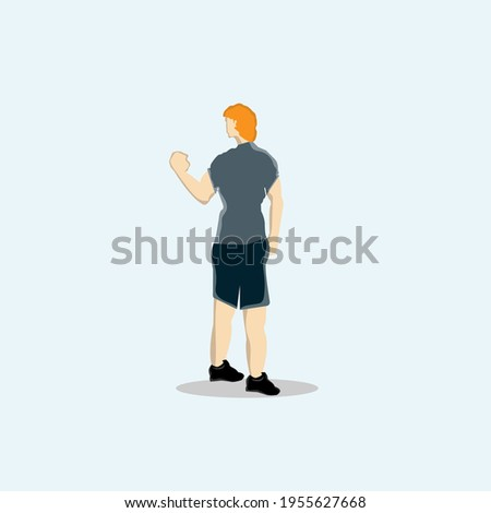 young man with great fist to