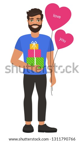 Young man with heart-shaped balloons and gifts boxes. Greeting card for Valentine's Day, Birthday,  Mother's Day or wedding. Fall in love. Romantic concept. Isolated vector on white background.