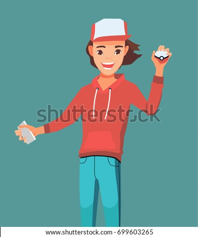 young man with pokemon ball and