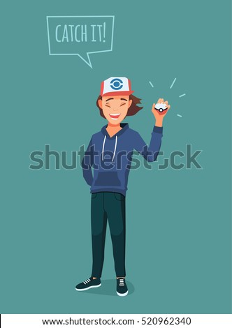 young man with pokemon ball