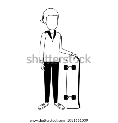 young man with skateboard on