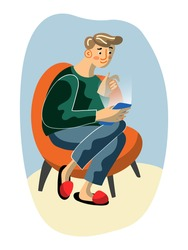 Young man with smartphone sit in armchair. Guy networking, browsing, watching video, chatting. People and gadget addiction. Online activity, social media, internet communication. Vector illustration