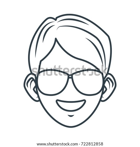 Young man with sunglasses cartoon
