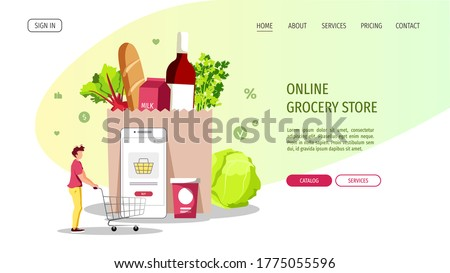 Young man with trolley, groceries and smartphone. Grocery store, Online Market, Home delivery, Shopping concept. Vector illustration for poster, banner, website, commercial.