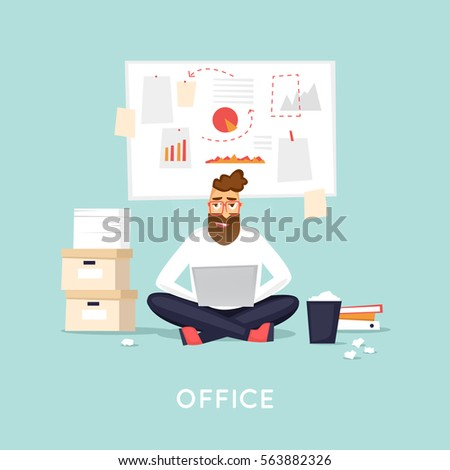 Young man working at the office, search for ideas, brainstorm, business. Flat vector illustration in cartoon style.