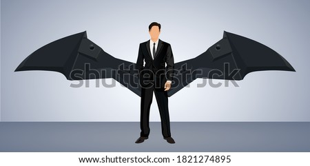 young manager icon with wings