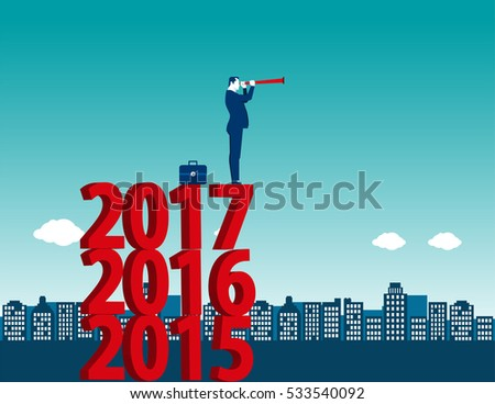 Young manager looking success at standing above numbers 2017. Concept business illustration. Vector flat