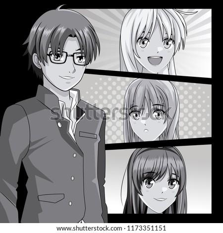 young manga faces cartoons