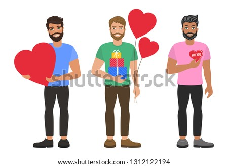 Young mans with hearts, balloons and gifts boxes. Greeting card for Valentine's Day, Birthday, Mother's Day, wedding. Fall in love. Romantic concept. Isolated vector on white background. Flat design.