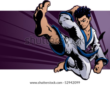 Young martial artist performing a flying karate kick.