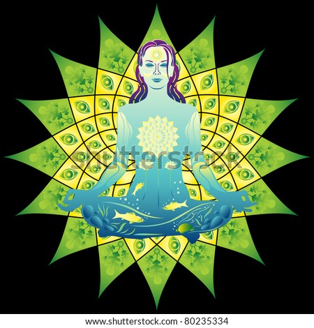 Young meditating woman colorful vector illustration