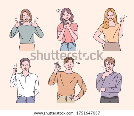 Young men and women are making positive gestures. flat design style minimal vector illustration.