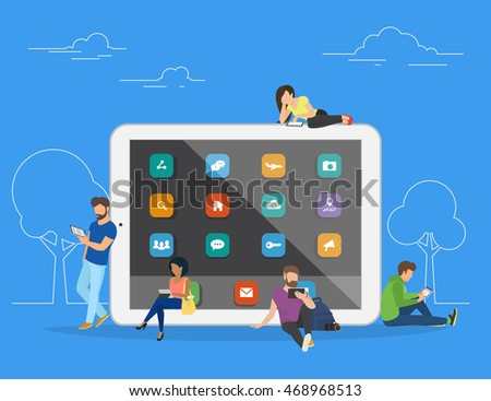 Young men and women are standing near big tablet and using their own tablet computers, reading news and texting message to friends. Flat concept illustration of mobile gadgets on blue.