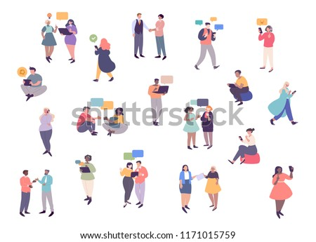 Young men and women communicating with each other, listening to music, taking selfie. Group of male and female cartoon characters with using technology to communicate. Flat vector illustration
