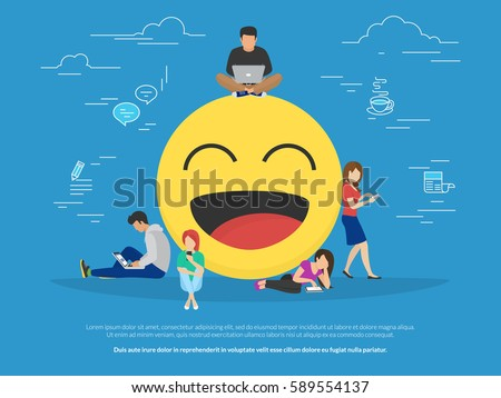Young men and women standing near big emoji head symbol and using their smart phones for texting to live chat, messengers and networks. Flat concept illustration of online talk on blue background