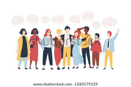 Young men and women standing together and speech balloons isolated on white background. Male and female cartoon characters speaking, talking, delivering verbal messages. Flat vector illustration.