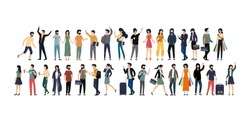 Young men and women with various jobs and activities with a white background. Social diversity. Flat cartoon vector illustration.