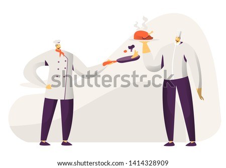 Young Men Chef and Sous Chef in Toque and Apron Holding in Hands Tray with Chicken and Pan with Vegetables. Restaurant Staff Demonstrating Menu, Serve Guests in Cafe. Cartoon Flat Vector Illustration