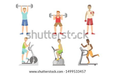 Young Men Doing Fitness Exercises in Gym Set, Guys Training with Treadmill, Exercise Bike, Dumbbells and Barbell Vector Illustration