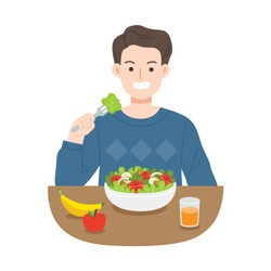 Young men eating salads. Diet food for life. Healthy foods with benefits. Healthy and vegan food concept.