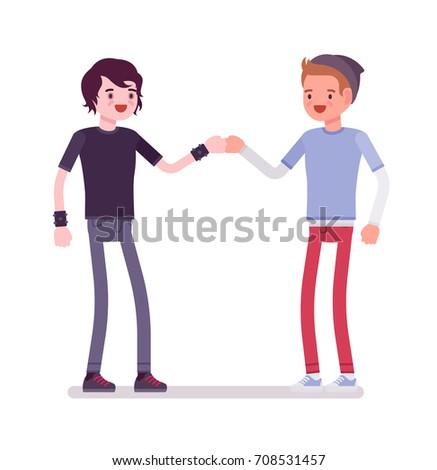 young men fist bump friendly