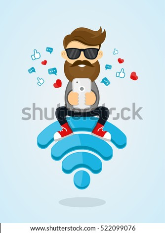 Young men guy character sitting on wi-fi emblem and using smartphone for internet. free internet, hotspot, network concept. flat  vector design illustration.sending a message via chat from smartphone.