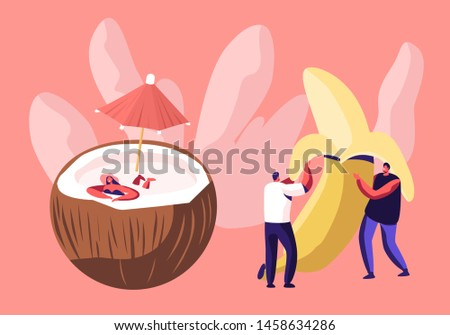 Young Men Holding Huge Peeled Banana, Woman in Swim Suit Relaxing in Coconut with Umbrella, Vegetarian and Diet Healthy Food, Fortified Nutrition, Fruits Nutrition, Cartoon Flat Vector Illustration
