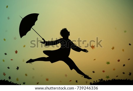 young men jumps and holding the umbrella, autumn rush time, jumping for joy, hurry up silhouette, running boy silhouette  and autumn leaves, vector