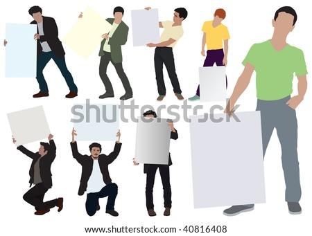 Young men showing empty boards. Color vector illustration on white. Eight separated poses.