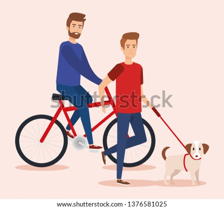 young men walking with dog and