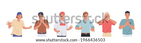 Young men with shocked face expression set. Surprised and amazed person cartoon style vector illustration Foto d'archivio ©