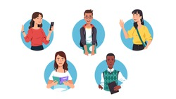 Young men & women college students using gadgets & holding books set. People standing, waving hand, browsing on cell phone, reading textbook. Youth & education. Flat vector character illustration