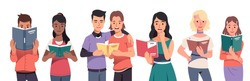 Young men & women students reading paper books set. Smiling people readers standing & holding open textbooks & paperback books. Education, literature & knowledge. Flat vector character illustration