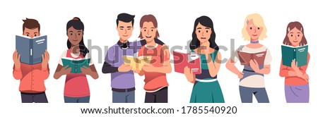 Young men & women students reading paper books set. Smiling people readers standing & holding open textbooks & paperback books. Education, literature & knowledge. Flat vector character illustration Сток-фото ©