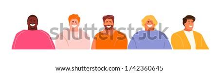Young modern men set avatars. Vector characters
