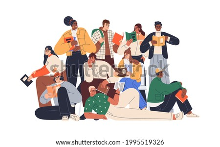 Young modern people reading books together. Crowd of readers. Group portrait of multiracial students with textbooks. Colored flat graphic vector illustration of bookworms isolated on white background