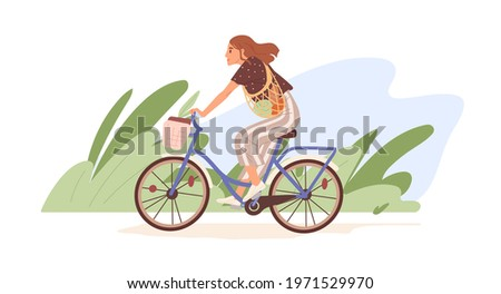 Young modern woman riding bicycle with basket. Happy cyclist on bike with grocery net bag in nature. Eco-friendly transport concept. Colored flat vector illustration isolated on white background