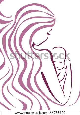 young mother and baby concept sketch in lilac outlines