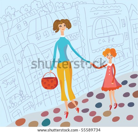 Young mother and daughter together in the city