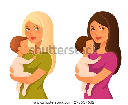 young mother holding her baby