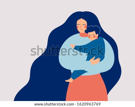 young mother holds her son with
