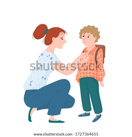 Young mother hunkering down in front of her kid, little boy, seeing him off for school, flat cartoon vector illustration isolated on white background. Young mom seeing her little son off to school Stockfoto ©