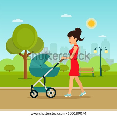 young mother walking in the